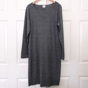 LuLaRoe Gray Ribbed Long Sleeve Knit Debbie Dress